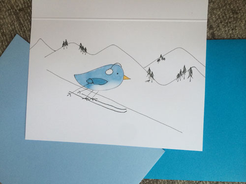 skiing bird 1