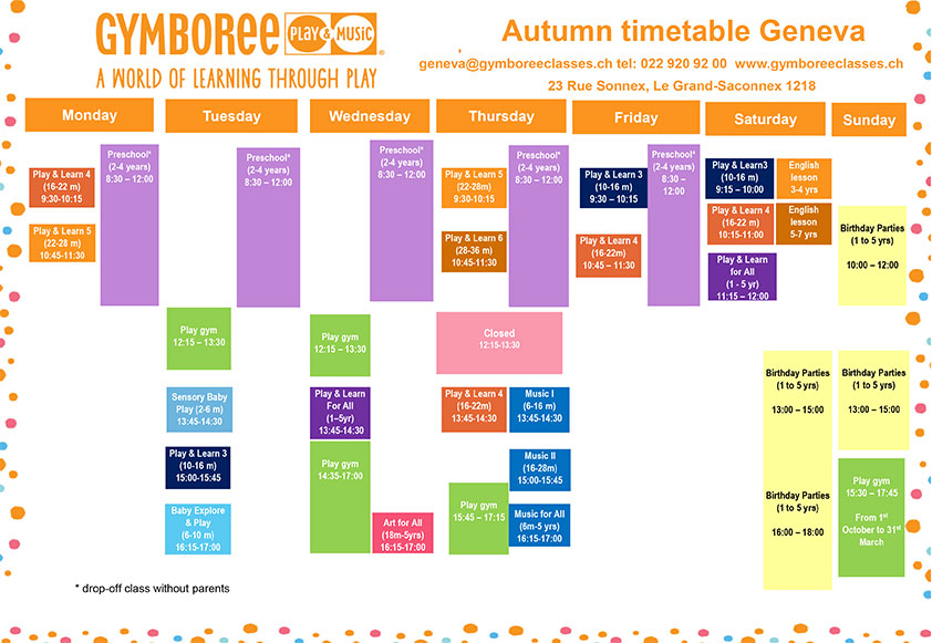 Gymboree Geneve Timetable Autumn2018 2