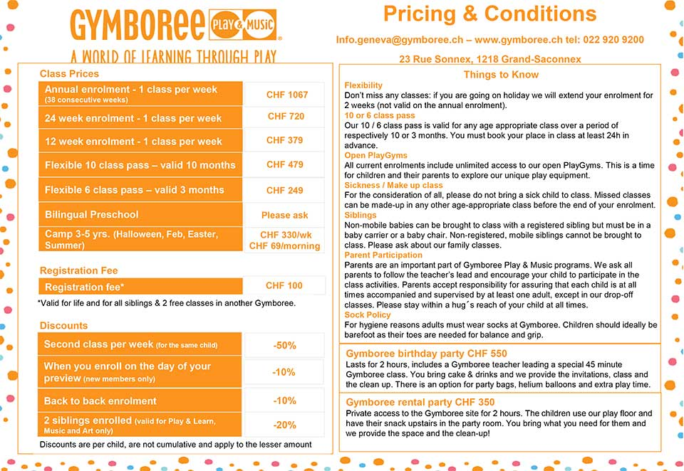 Gymboree Timetable prices Winter 2018 2