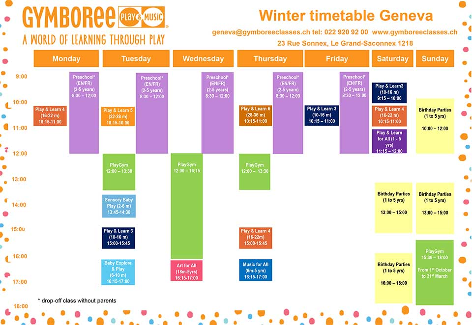 Gymboree Timetable prices Winter 2018