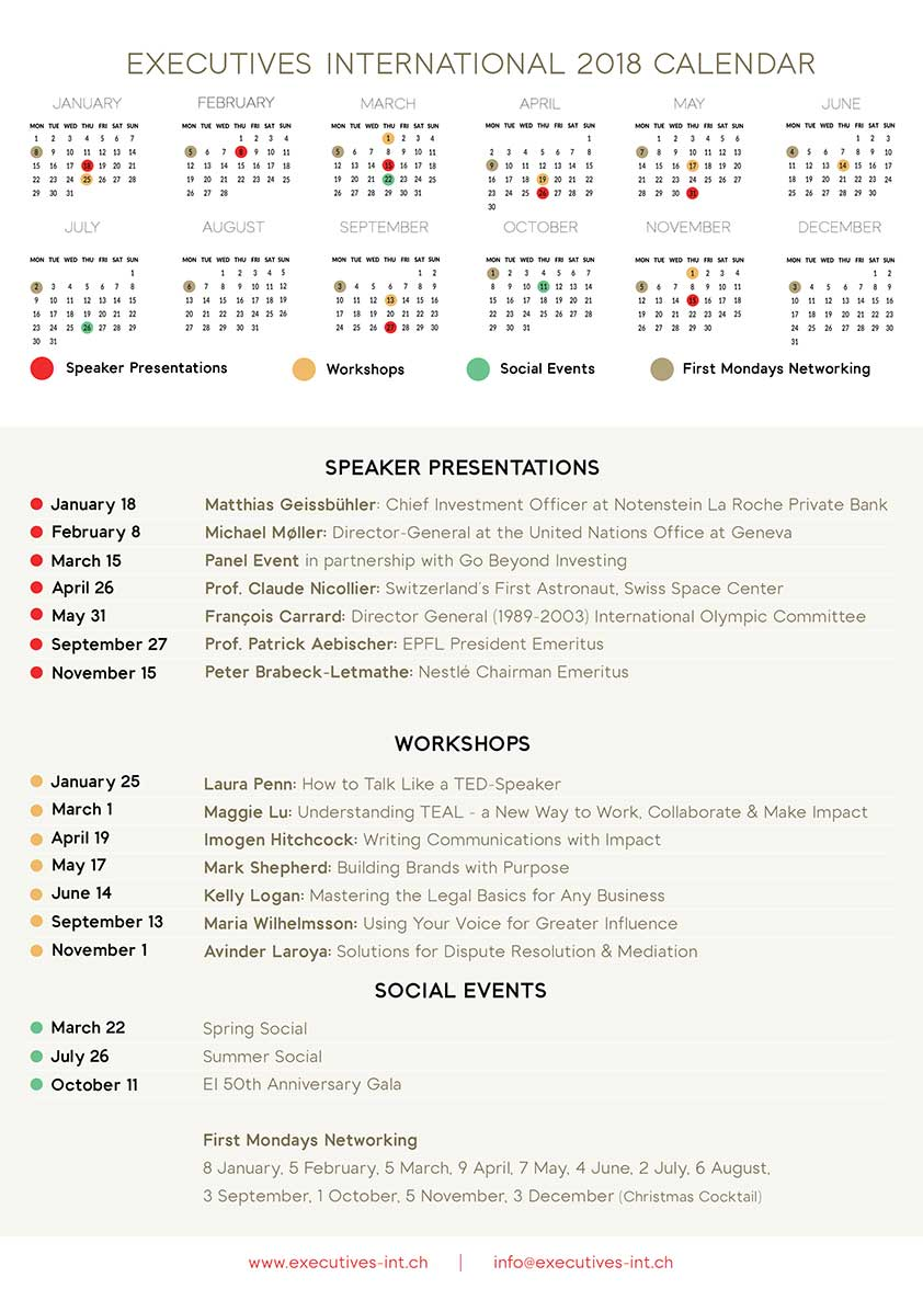 Executives International 2018 events calendar 1